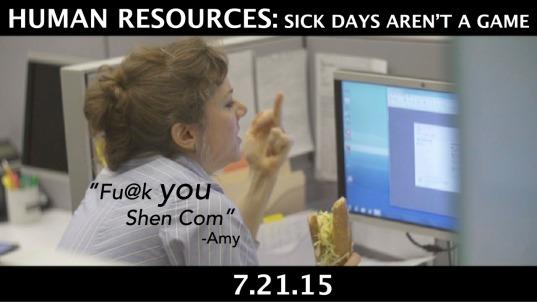 """""""HR: Sick Days Aren't a Game"""" dir by Jeff Barry, Tijuana Ricks, written by Ken Ferrigni"""