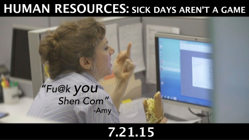 """HR: Sick Days Aren't a Game"" dir by Jeff Barry, Tijuana Ricks, written by Ken Ferrigni"